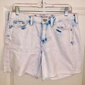 Madewell high waisted white acid wash jean shorts